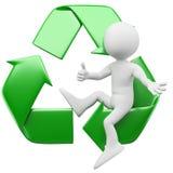 homem 3D com o símbolo de recicl Imagens de Stock