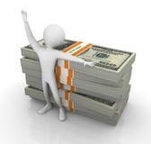 homem 3d com a pilha de dólar Fotografia de Stock Royalty Free