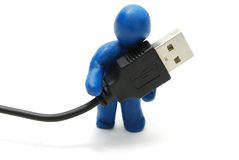 homem 3D com USB Imagem de Stock