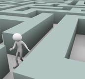homem 3d perdido no labirinto Foto de Stock