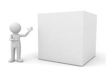 homem 3d que apresenta a caixa em branco Fotografia de Stock Royalty Free