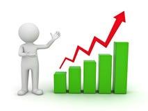 homem 3d que apresenta o gráfico de negócio Imagens de Stock Royalty Free