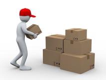 homem 3d que coloc caixas do pacote ilustração stock
