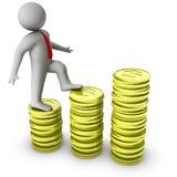 homem 3d que mostra o crescimento no dinheiro Imagens de Stock Royalty Free