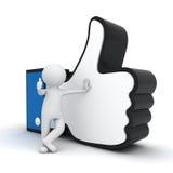 homem 3d que mostra o polegar acima com símbolo semelhante da mão ilustração stock