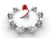 homem 3D que senta-se em uma mesa redonda e que tem a reunião Fotografia de Stock