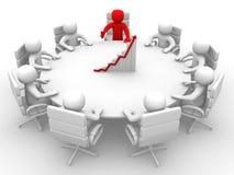 homem 3D que senta-se em uma mesa redonda e que tem a reunião de negócios Imagens de Stock Royalty Free