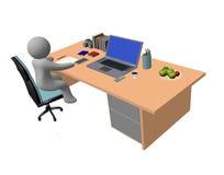 homem abstrato que trabalha na tabela Fotografia de Stock Royalty Free