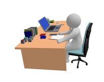 homem abstrato que trabalha na tabela do portátil do computador Fotos de Stock