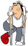 Homem acima golpeado em muletas ilustração stock