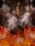 Homem acorrentado no inferno ilustração stock