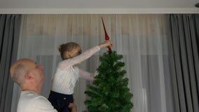 Homem adulto e moça caucasianos que decoram a árvore de Natal - colocando o chapéu de coco vermelho sobre a árvore de abeto decor filme