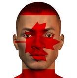 Homem africano com bandeira de Canadá Fotografia de Stock