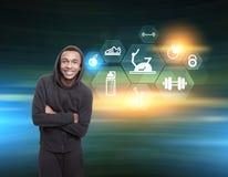 Homem africano e ícones sextavados do esporte Imagens de Stock