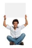 Homem africano satisfeito com sinal imagem de stock royalty free