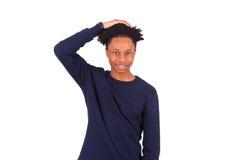 Homem afro-americano pensativo isolado no fundo branco - B Fotos de Stock