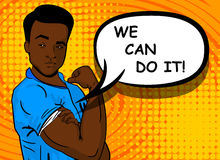 Homem afro-americano preto NÓS PODEMOS FAZER O TI Fotos de Stock
