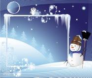 Homem alegre da neve com uma vassoura Fotos de Stock