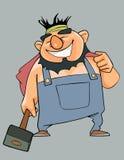 Homem alegre dos desenhos animados nos macacões com um martelo em sua mão Imagem de Stock Royalty Free
