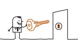 Homem & chave Fotos de Stock
