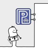 Homem & sinal do estacionamento Imagem de Stock