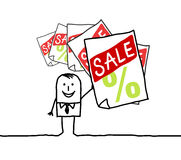 Homem & venda ilustração stock