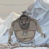 Homem antigo do indivíduo saudável engraçado dos desenhos animados em montanhas nevados ilustração do vetor