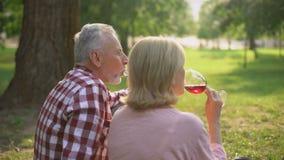 Homem aposentado satisfeito e fêmea que apreciam a data romântica no parque e que bebem o vinho vídeos de arquivo