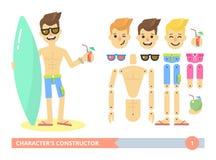 Homem apto dos jovens do construtor dos caráteres na praia Imagens de Stock Royalty Free