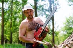 Homem apto que leva uma serra de cadeia na floresta Fotos de Stock