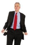 Homem arrogante com bolsos vazios imagens de stock