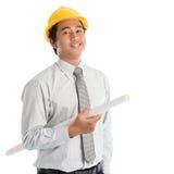 Homem asiático com capacete de segurança da segurança Fotografia de Stock Royalty Free