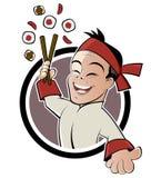 Homem do sushi dos desenhos animados ilustração royalty free