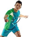 Homem asiático do jogador do badminton isolado Imagens de Stock Royalty Free