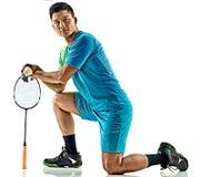 Homem asiático do jogador do badminton isolado Foto de Stock Royalty Free