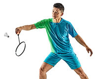 Homem asiático do jogador do badminton isolado Imagens de Stock