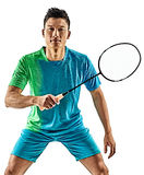 Homem asiático do jogador do badminton isolado Fotografia de Stock