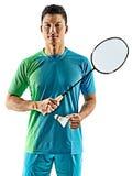 Homem asiático do jogador do badminton isolado Fotos de Stock Royalty Free