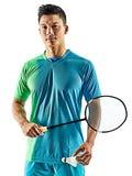 Homem asiático do jogador do badminton isolado Imagem de Stock Royalty Free