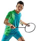 Homem asiático do jogador do badminton isolado Fotos de Stock