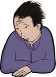 Homem asiático na solidão ilustração do vetor