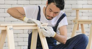 Homem asiático novo do carpinteiro video estoque