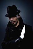 Homem assustador com uma faca Imagem de Stock Royalty Free