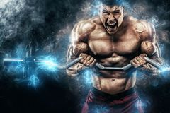 Homem atlético do halterofilista muscular forte brutal que bombeia acima os músculos com o barbell no fundo preto workout foto de stock
