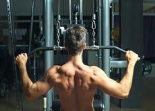 Homem atlético que treina os músculos traseiros imagem de stock royalty free
