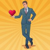 Homem atrativo com coração O homem para fazer propõe ilustração royalty free
