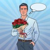 Homem atrativo com ramalhete O homem vai em uma data Quer dar flores ilustração royalty free