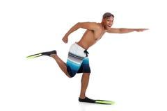 Homem atrativo novo do americano africano no swimsuit fotos de stock royalty free