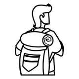 Homem aventuroso com travelbag ilustração do vetor