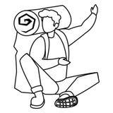 Homem aventuroso com travelbag ilustração stock